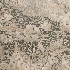 Chaparral Wallpaper - A sophisticated wallcovering with an exquisite rendition of life in rural Thailand including the lush vegetation, children lazing under trees and fantastical birds flying overhead. Shown in brown and graphite with a mica finish.