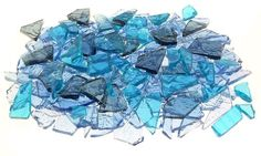 Mixed Blue Stained Glass Cobbles-8 ounces(half pound)