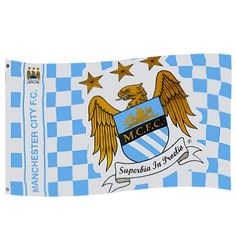 Manchester City F. Flag CQ - large flag - metal eyelets - approx x x - on a header card - official licensed product Model : Soccer Flags, Sports Flags, City Flags, Soccer Gear, Custom Football, Custom Flags, Flag Logo, English Premier League, Flag Banners