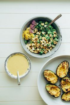 charred broccoli + tofu stuffed avocados with  sweet lemon curry sauce // the first mess
