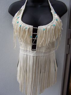 Deerskin Halter Top with Fringe, Leather Beaded Feathers or Fringe and Beads on Neckline
