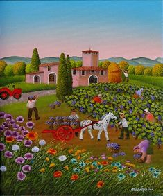 Dopo la vendemmia  by Cesare Marchesini of Italy Academic Art, Happy Art, Italian Artist, Naive Art, Aboriginal Art, Art Images, Landscape Paintings, Folk Art, Contemporary Art