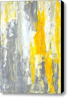 $336  34 x 48   Grey And Yellow Abstract Art Painting Stretched Canvas Print / Canvas Art By Carollynn Tice