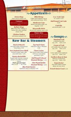 Costas Inn Appetizers #rawbear #steamers #oysters #onionrings #crabcakes #soups