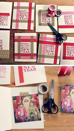 Make memorable homemade christmas cards using washi tape and a stamp!