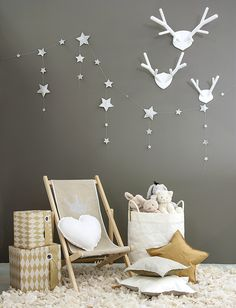 Nursery inspiration with French linen deck chair for kids and silver star garland from Numero 74