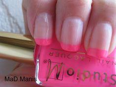 MaD Manis: Sally Hansen Shell We Dance and Studio M Neon Pink