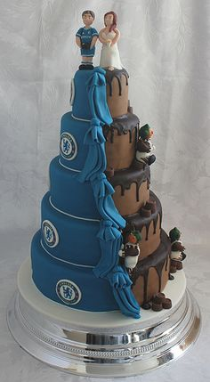 Chocolate and Chelsea FC wedding cake!!! - OK, so this would have to be half Chelsea and half Man Utd. MY HALF IS CHELSEA. .