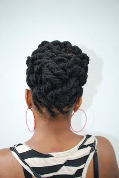 loc updo I think this will be tonight's style :: Dreadlock Styles, Dreads Styles, Braid Styles, Love Hair, My Hair, Natural Hair Care, Natural Hair Styles, Nattes Twist Outs, Loc Updo