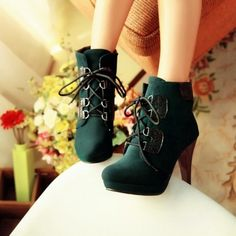 USD16.99Fashion Round Toe  Lace Up  Stiletto High Heels Green PU Ankle Martens Boots