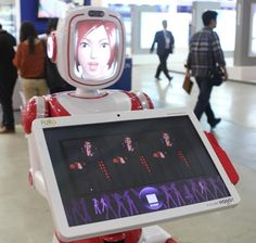 Future Robot's service robot FURO can perform a simple dance, looks sad when customers lea...