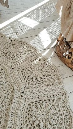 Big crochet rug, round area rug in), doily rug, yarn lace mat, boho floor decor by LaceMats Crochet Doily Rug, Crochet Carpet, Crochet Rug Patterns, Crochet Quilt, Crochet Bedspread Pattern, Knit Rug, Rug Yarn, Crochet Decoration, Crochet Home Decor