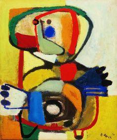'Kind IV' door Karel Appel. De figuur op het schilderij doet denken aan een zogenoemde koppoter, een door een kind getekend mannetje zonder romp. Maar de manier waarop Appel expressieve handen en gezichtskenmerken heeft toegevoegd, tilt dit werk toch hoog uit boven de doorsnee kindertekening.
