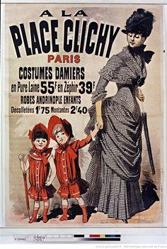A la Place Clichy. Costumes damiers en pure laine 55 F... : [affiche] / [Jules Chéret]