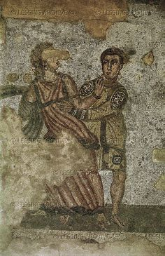 Two lovers,from the cubicle of erotic scenes, Villa del Casale,Piazza Armerina,Sicily,Italy.3rd-4th. Villa Romana del Casale, Piazza Armerina, Italy