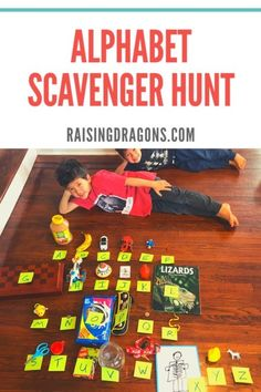 This alphabet scavenger hunt is a perfect indoor activity for kids of all ages, but especially great for preschool and elementary ages! Simple to do & fun! games for toddlers Alphabet Activities, Educational Activities, Preschool Activities, Nanny Activities, Preschool Writing, Physical Activities, Indoor Activities For Kids, Toddler Activities, Summer Activities