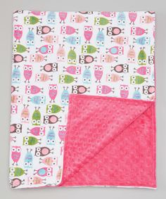 Look at this 35'' x 43'' Fuchsia Night Owl Stroller Blanket on #zulily today!
