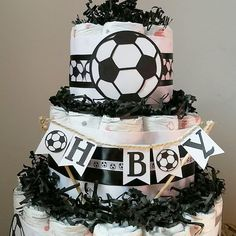 This Themed Diaper Cake would make the perfect centerpiece for the upcoming baby shower! Or to welcome the sweet bundle of joy! Baby Boy Soccer, Centerpieces, Baby Shower, Joy, Diaper Cakes, Trending Outfits, Children, Unique Jewelry, Sweet