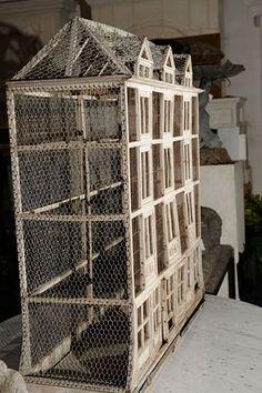 burlap, birdhous, architectur french, bird cage, birdcages