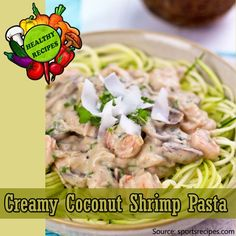 Creamy Coconut Shrimp Pasta  Nutritional Info per Serving: Calories: 423, Protein: 47.5g, Carbohydrates: 45.9g, Fat: 8.6g