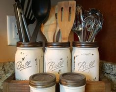 Mason jar utensil holder Kitchen Utensil holder di DandEcustom