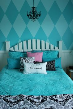 Olivia's accent wall with rumbas design in lime green and white!  Accent colors are turquoise.  Love, love it.
