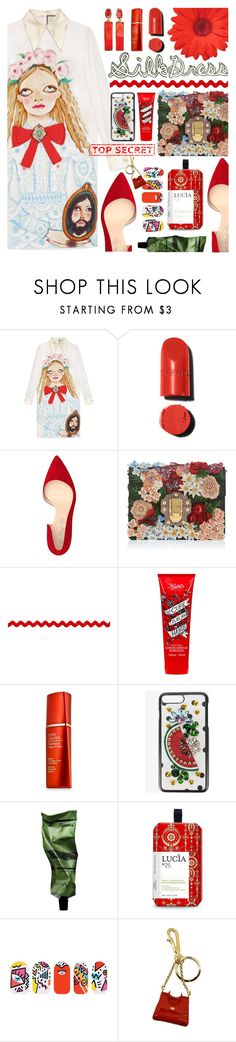 """""""Silk Dress"""" by tinkabella222 ❤ liked on Polyvore featuring Gucci, Shoes of Prey, Dolce&Gabbana, Kiehl's, Estée Lauder, Aesop, Lucia, Tattify, gucci and dolcegabbana"""