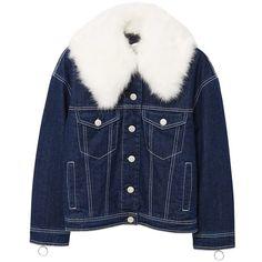 MANGO Faux fur neck denim jacket ($120) ❤ liked on Polyvore featuring outerwear, jackets, jean jacket, faux fur collar jacket, denim jacket, fleece-lined jackets and embellished jacket