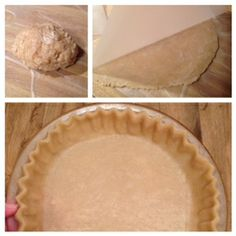 Pie Crust. 1 c. plus 2 T. flour, 1/2 tsp salt, 1/3 c. canola oil, 2 T. water. Combine flour & salt. Mix in canola oil. Stir until combined. Add water. Stir to form ball. Moisten counter w/ water and place waxed paper on area. Roll out dough ball between two sheets of waxed paper. Peel off top paper. Pick up bottom paper with dough. Invert onto pie pan. Carefully remove paper. Ease dough into pan. Flute for one crust pie or trim for two crust pie. Calories for 1/8 crust = 134.