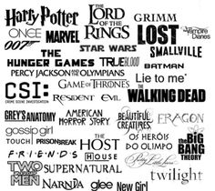 Lord of the rings, Harry potter, The vampire diaries, Star wars, Marvel, The hunger games, Percy Jackson, The host