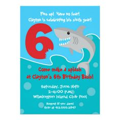 Shark Bite Invite 6th Birthday Party Invitation