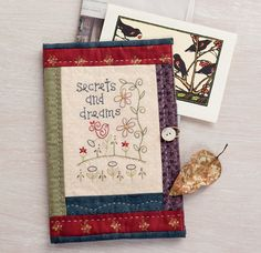 """A sweet bird sings about her secrets and dreams . . . """"Secret Keeper"""" folder from the book Patchwork Loves Embroidery by Gail Pan."""