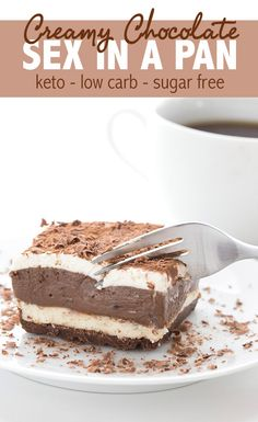"""Sugar Free Sex In A Pan Dessert. Creamy and delicious layers of keto chocolate p… Sugar Free Sex In A Pan Dessert. Creamy and delicious layers of keto chocolate pudding and no bake cheesecake, on a chocolate """"cookie"""" crust. Keto Desserts, Sugar Free Desserts, Sugar Free Recipes, Low Carb Recipes, Keto Snacks, Keto Desert Recipes, Diabetic Dessert Recipes, Desserts For Diabetics, Easy Keto Dessert"""