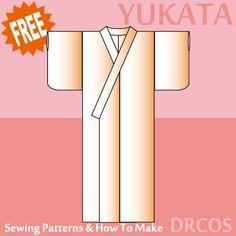 Yukata sewing patterns & how to make Japanese Sewing Patterns, Sewing Patterns Free, Free Sewing, Apron Patterns, Dress Patterns, Sewing Ideas, Yukata, Sewing Shirts, Sewing Clothes