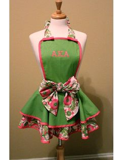 OK ---if i owned this apron would cook just so i could wear It.  Bring out those matching pumps!!!  AKA Pink and Green monogrammed Ruffle Apron by Fancyhostess - Etsy #Lovethis