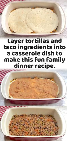 Unique Recipes, Easy Dinner Recipes, Dinner Ideas, Easy Meals, Healthy Gourmet, Gourmet Recipes, Cooking Recipes, Easy Taco Casserole, Casserole Dishes