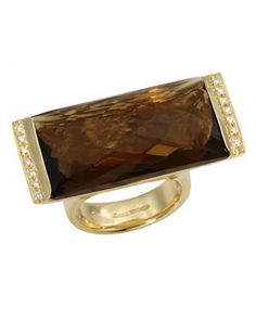 ZOCCAI Made In Italy Quartz Ring Designed In 18K Yellow Gold