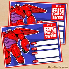 FREE Printable Big Hero 6 Baymax Birthday Invitation