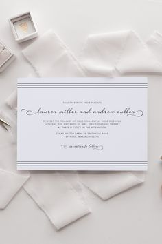 Delicate script font pairs perfectly with simple modern typography to create a simple yet stunning wedding invitation. Classic and timeless this script wedding invitation is perfect for your big day. Typography Wedding Invitations, Minimalist Wedding Invitations, Beautiful Wedding Invitations, Vintage Wedding Invitations, Wedding Invitation Design, Wedding Stationery, Invites, Wedding Name, Wedding Matches