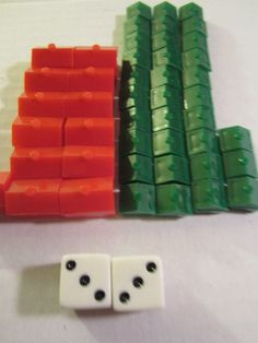 Monopoly Game Replacement Parts 33 Houses 13 Hotels + 2 Dice Craft Vintage 1970s #crafting #monopolyparts