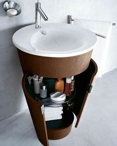 round, space-saving sink with storage ... particularly useful in a wet room?