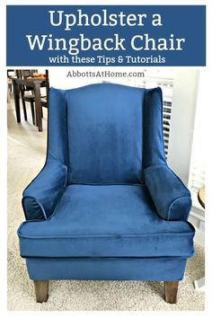 A few tips, DIY upholstery pictures, and my favorite tutorials to upholster a wingback chair. I'm so glad I gave this wingchair a makeover and it doesn't require any fancy sewing skills, guys. How to upholster a chair – reupholster a chair DIY Diy Furniture Redo, Reupholster Furniture, Diy Furniture Projects, Upholstered Furniture, Diy Projects, Furniture Reupholstery, Crate Furniture, Furniture Movers, Urban Furniture