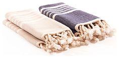 Turkish Hammam Hand Towels, Beige and Blue, Set of 2 - contemporary - Bath Towels - Indigo&Lavender