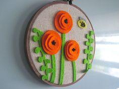 Orange Poppies and Happy Bee