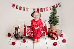 Christmas Holiday Photography idea,  www.babybarephoto.com ornaments, banner, garland, balls, rocking horse, Christmas tree