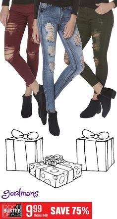 These skinny jeans for only $9.99 are the perfect gift for the fashionista in your life! Check out Gordmans Black Friday ad online now!
