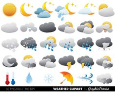 Weather Clipart Clip Art Vectors Weather digital by GraphicPassion Weather Activities For Kids, Rainbow Clipart, Free Clipart Images, Party Banners, Card Tags, Collage Sheet, Craft Items, Digital Image, Handmade Crafts