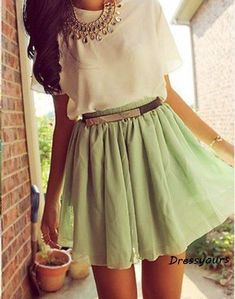 LOVE this outfit <3 Mint green skirt <3