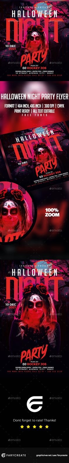 Halloween Night Party Flyer Template by farycreate | GraphicRiver Halloween Flyer, Halloween Night, Party Flyer, Flyer Template, Templates, Stencils, Vorlage, Models