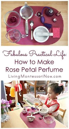 Fabulous Practical Life: How to Make Rose Petal Perfume Making rose petal perfume is a perfect Montessori practical life activity and way to recycle flowers [. Montessori Practical Life, Montessori Homeschool, Montessori Elementary, Montessori Classroom, Montessori Toddler, Montessori Activities, Preschool Activities, Homeschooling, Montessori Bedroom